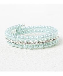 Treasure Trove Adjustable Stone And Diamond Studded Bangle - Light Blue