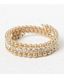 Treasure Trove Adjustable Stone And Diamond Studded Bangle - Beige