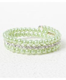 Treasure Trove Adjustable Stone And Diamond Studded Bangle - Sea Green
