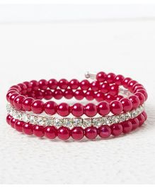 Treasure Trove Adjustable Stone And Diamond Studded Bangle - Maroon