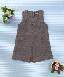 Amigo 7 Seven Bow Applique Classy Dress - Coffee