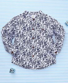 Bee Born Floral Print Shirt - White & Blue