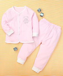 Gigilily Bear Print Top & Pant Set - Pink