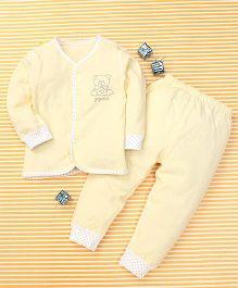 Gigilily Bear Print Top & Pant Set - Yellow
