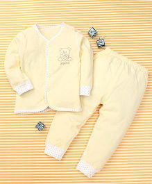 Gigilily Bear Print Top & Pant Set - Yellow