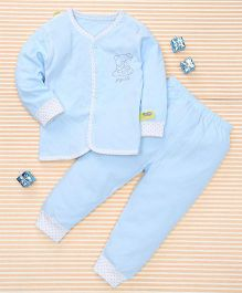 Gigilily Bear Print Top & Pant Set - Blue