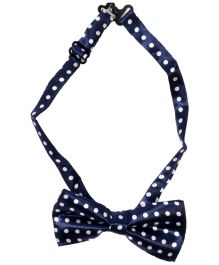 Miss Diva Superstar Polka Dot Bow - Navy Blue & White