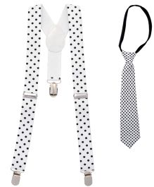 Miss Diva Dot Suspender With Tie - White & Black