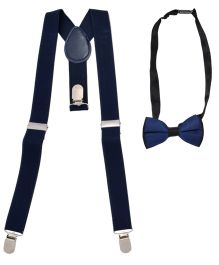 Miss Diva Elegant Suspender With Bow Set - Navy Blue