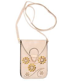 Miss Diva Flower Cutwork Outgoing Purse Cum Sling - Cream