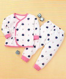 Gigilily Polka Dot Print Tee & Pant Set - White & Pink