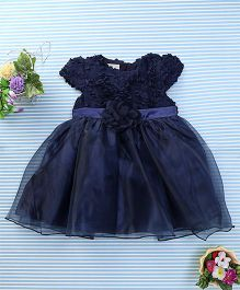 Amigo 7 Seven Flower Applique Net Dress - Navy Blue