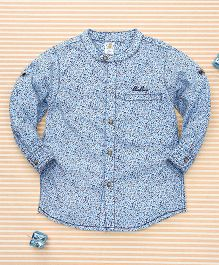 Bee Born Leaf Print Shirt - White & Sky Blue