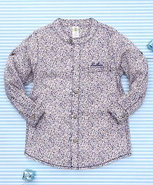 Bee Born Leaf Print Shirt - Blue & Brown