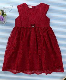 Amigo 7 Seven Flower Print Net Dress - Red