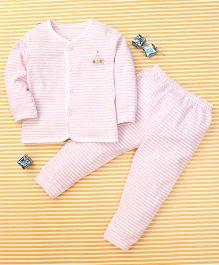 Gigilily Stripes Print Shirt & Pant Set - Light Pink & White