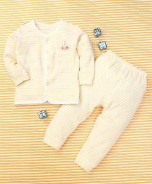 Gigilily Stripes Print Shirt & Pant Set - Light Yellow & White