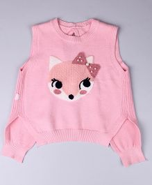 Whitehenz Clothing Squirrel Sleeveless Sweater With Ribbon Belt - Pink