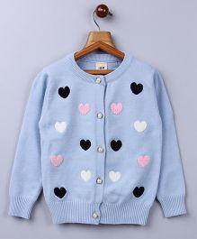 Whitehenz Clothing Heart Sweater With Pearl Buttons - Blue