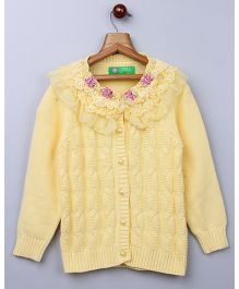 Whitehenz Clothing Elegant Net Floral Sweater - Yellow