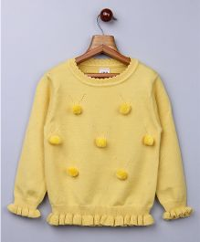 Whitehenz Clothing Pom Pom Fullsleeves Sweater - Yellow