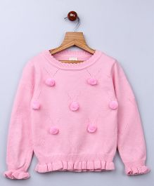Whitehenz Clothing Pom Pom Fullsleeves Sweater - Pink