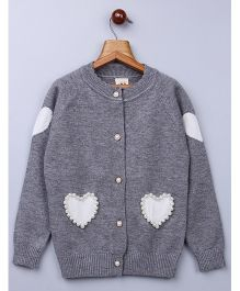 Whitehenz Clothing Pearl Heart Design Fullsleeves Sweater - Grey