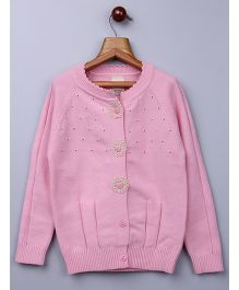 Whitehenz Clothing Pleated Sweater With Crochet Buttons- Pink