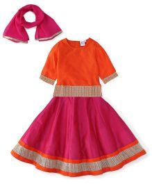 Kiddopanti Lehenga Choli And Dupatta Set Lace Details - Orange And Pink