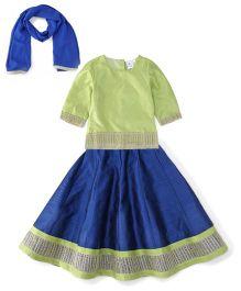 Kiddopanti Lehenga Choli And Dupatta Set Lace Details - Green And Blue