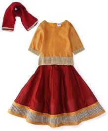Kiddopanti Lehenga Choli And Dupatta Set Lace Details - Yellow And Maroon