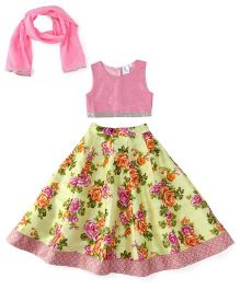 Kiddopanti Lehenga Choli And Dupatta Set Floral Print - Pink And Yellow
