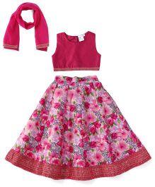 Kiddopanti Lehenga Choli And Dupatta Set Floral Print - Pink