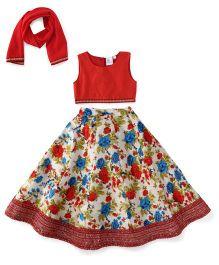 Kiddopanti Lehenga Choli And Dupatta Set Floral Print - Red