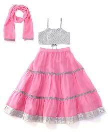 Kiddopanti Lehenga Choli And Dupatta Set With Lace Details - Silver And Pink