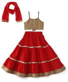 Kiddopanti Lehenga Choli And Dupatta Set With Lace Details - Red And Beige