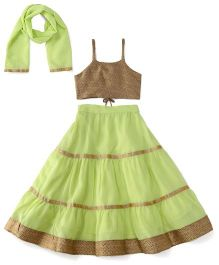 Kiddopanti Lehenga Choli And Dupatta Set With Lace Details - Green And Beige
