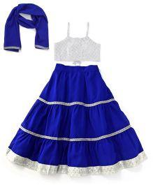 Kiddopanti Lehenga Choli And Dupatta Set With Lace Details - Blue And Silver