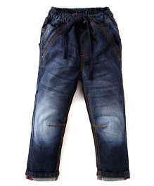 Kiddopanti Full Length Jeans With Drawstring - Blue
