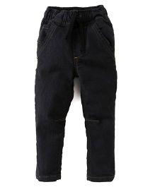 Kiddopanti Full Length Jeans With Drawstring - Black