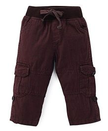 Kiddopanti Pull Up Cargo Pant With Ribbed Waist - Chocolate Brown
