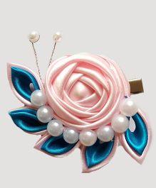 Reyas Accessories Rose Caterpillar Hair Clip - Pink Blue