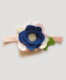 Reyas Accessories Rose Headband - Pink White And Dark Blue