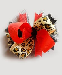 Reyas Accessories Leapord Print Boutique Bow - Pink And Off White