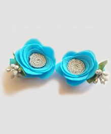 Reyas Accessories Rose Set Of 2 Hair Clips - Silver Blue