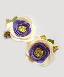 Reyas Accessories Set Of 2 Hair Clips - White Purple
