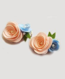 Reyas Accessories Rose Set Of 2 Hair Clips - Pink Blue