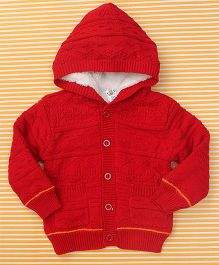 Bee Born Baby Sweater With Hood - Red