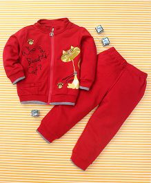Bee Born Cat Print Sweater & Pant Set - Red