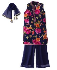 Ami Sleeveless Kurti And Palazzo With Dupatta Floral Print - Navy Blue